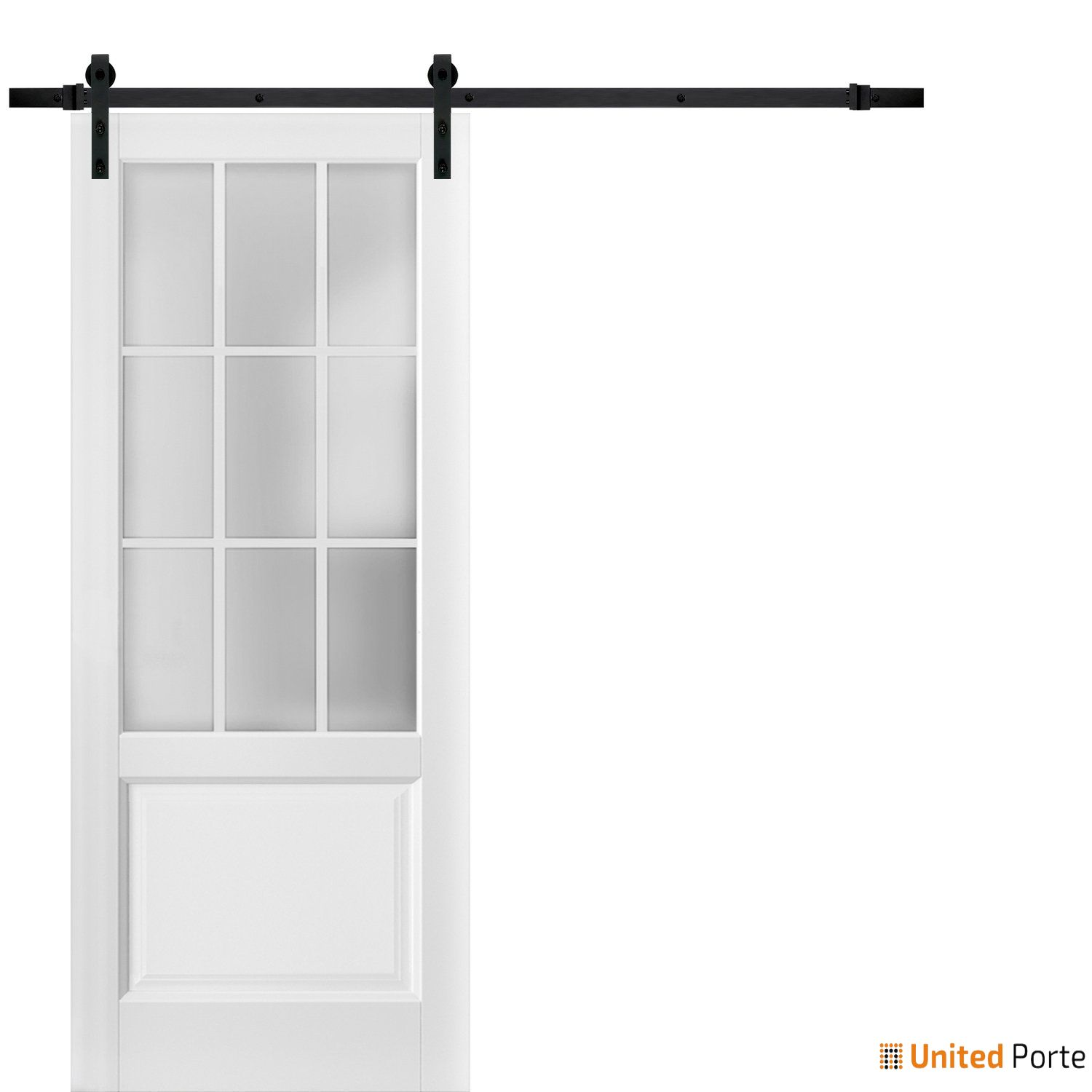 Felicia 3309 Matte White Sturdy Barn Door Frosted Glass 9 Lites with Black Hardware | Solid Panel Interior Barn Doors