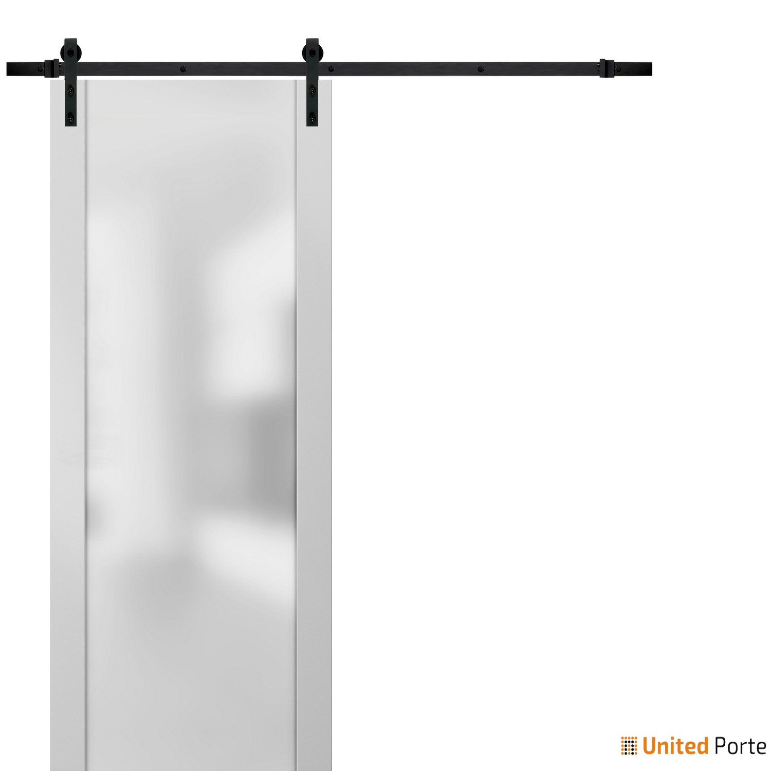 Planum 4114 White Silk Sturdy Barn Door Frosted Tempered Glass with Black Hardware   Modern Solid Panel Interior Barn Doors