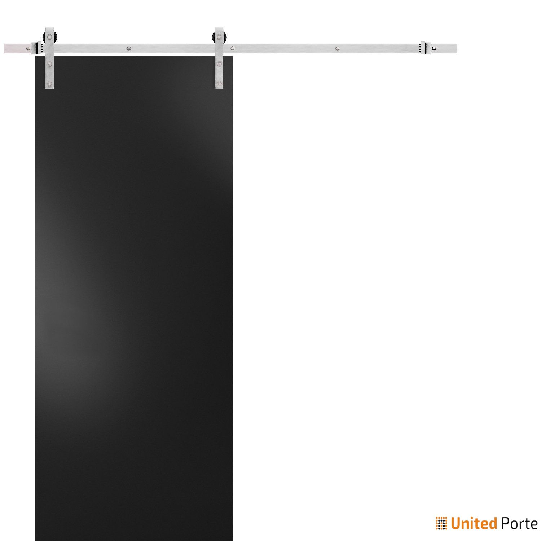 Planum 0010 Matte Black Sturdy Barn Door with Stainless Hardware | Modern Solid Panel Interior Barn Doors
