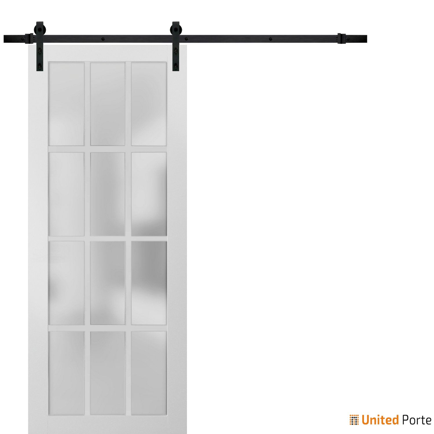 Felicia 3312 White Sturdy Barn Door Frosted Glass 12 Lites with Black Hardware | Solid Panel Interior Barn Doors