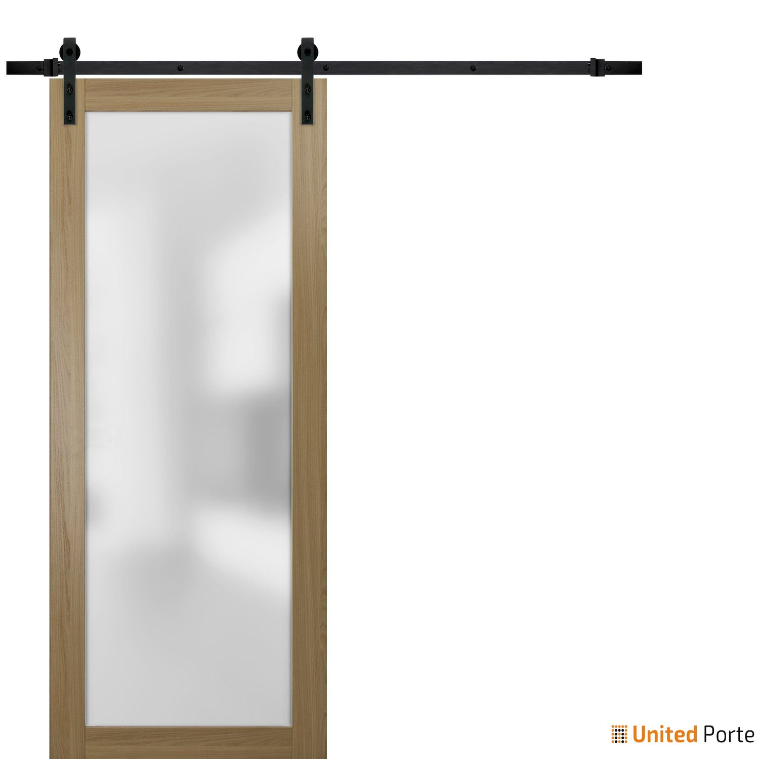 Planum 2102 Honey Ash Sturdy Barn Door Frosted Tempered Glass with Black Hardware | Modern Solid Panel Interior Barn Doors