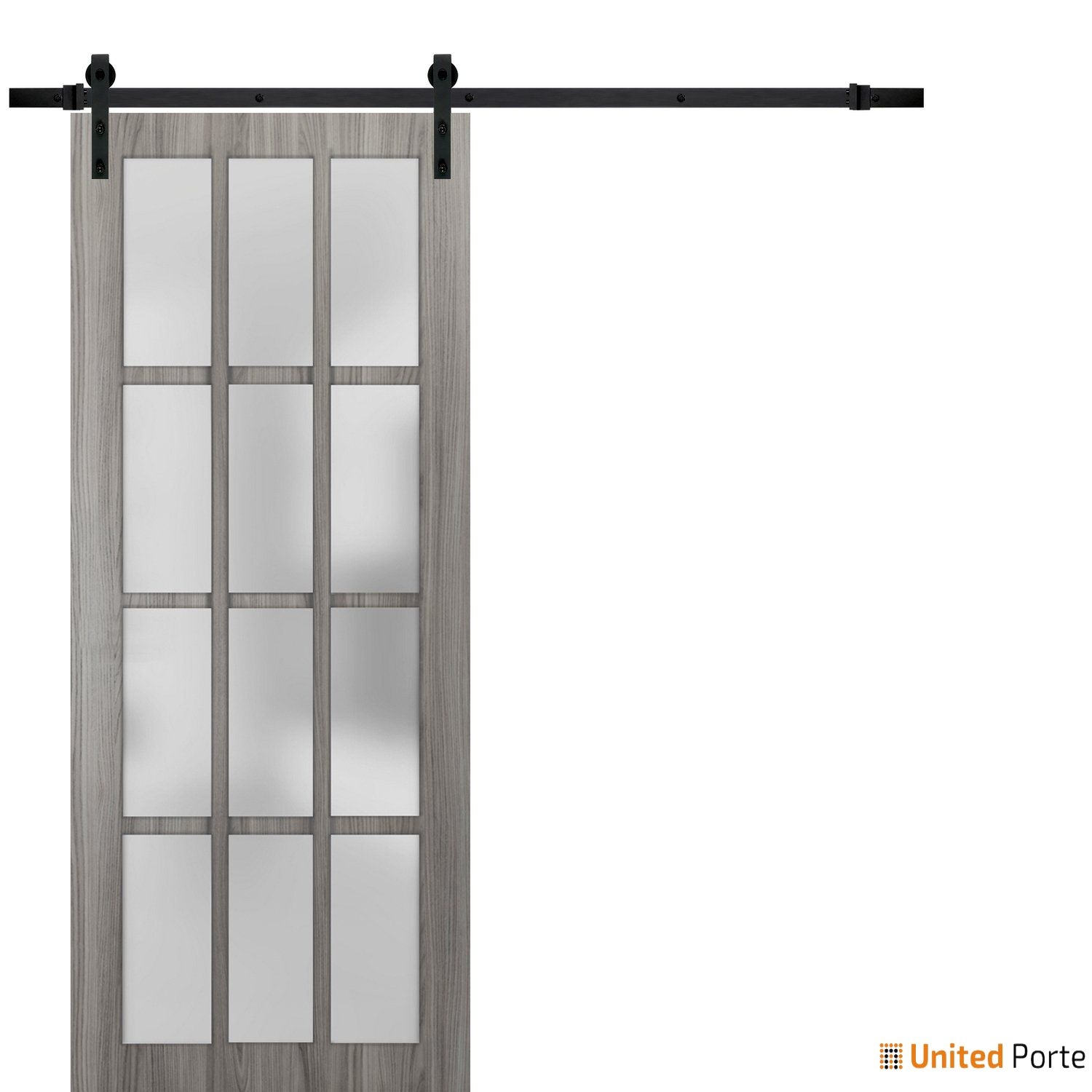 Felicia 3312 Ginger Ash Sturdy Barn Door Frosted Glass 12 Lites with Black Hardware | Solid Panel Interior Barn Doors