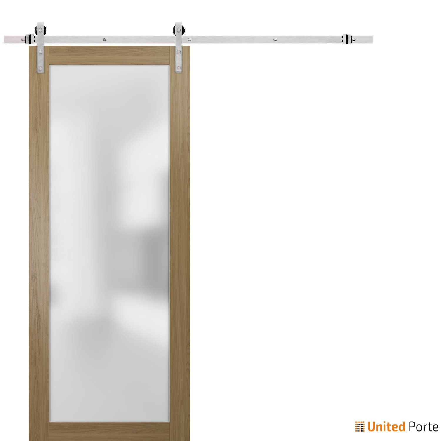 Planum 2102 Honey Ash Sturdy Barn Door Frosted Tempered Glass with Stainless Hardware | Modern Solid Panel Interior Barn Doors