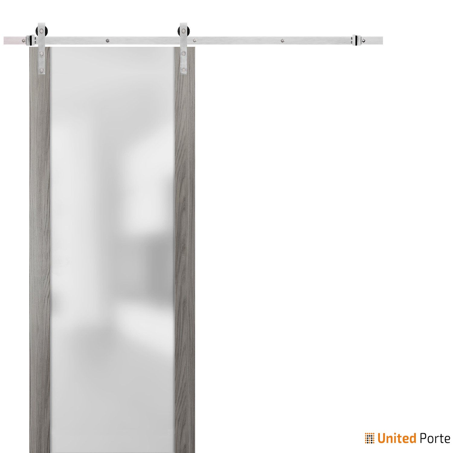 Planum 4114 Ginger Ash Sturdy Barn Door Frosted Tempered Glass with Stainless Hardware | Modern Solid Panel Interior Barn Doors