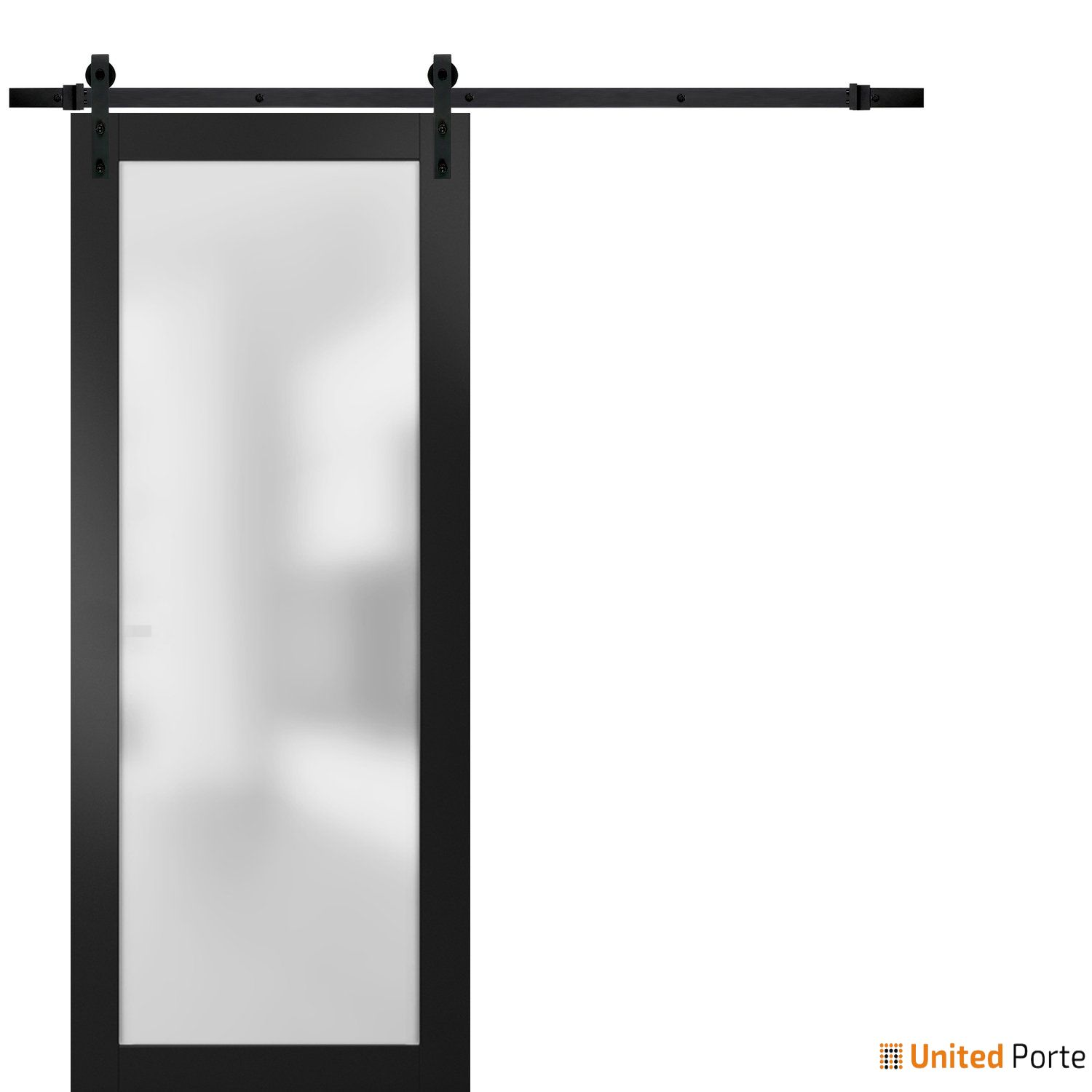 Planum 2102 Matte Black Sturdy Barn Door Frosted Tempered Glass with Black Hardware | Modern Solid Panel Interior Barn Doors