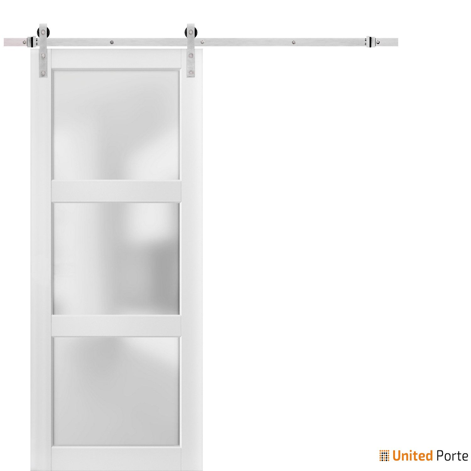 Lucia 2552 White Sturdy Barn Door Frosted Glass with Stainless Hardware | Solid Panel Interior Barn Doors