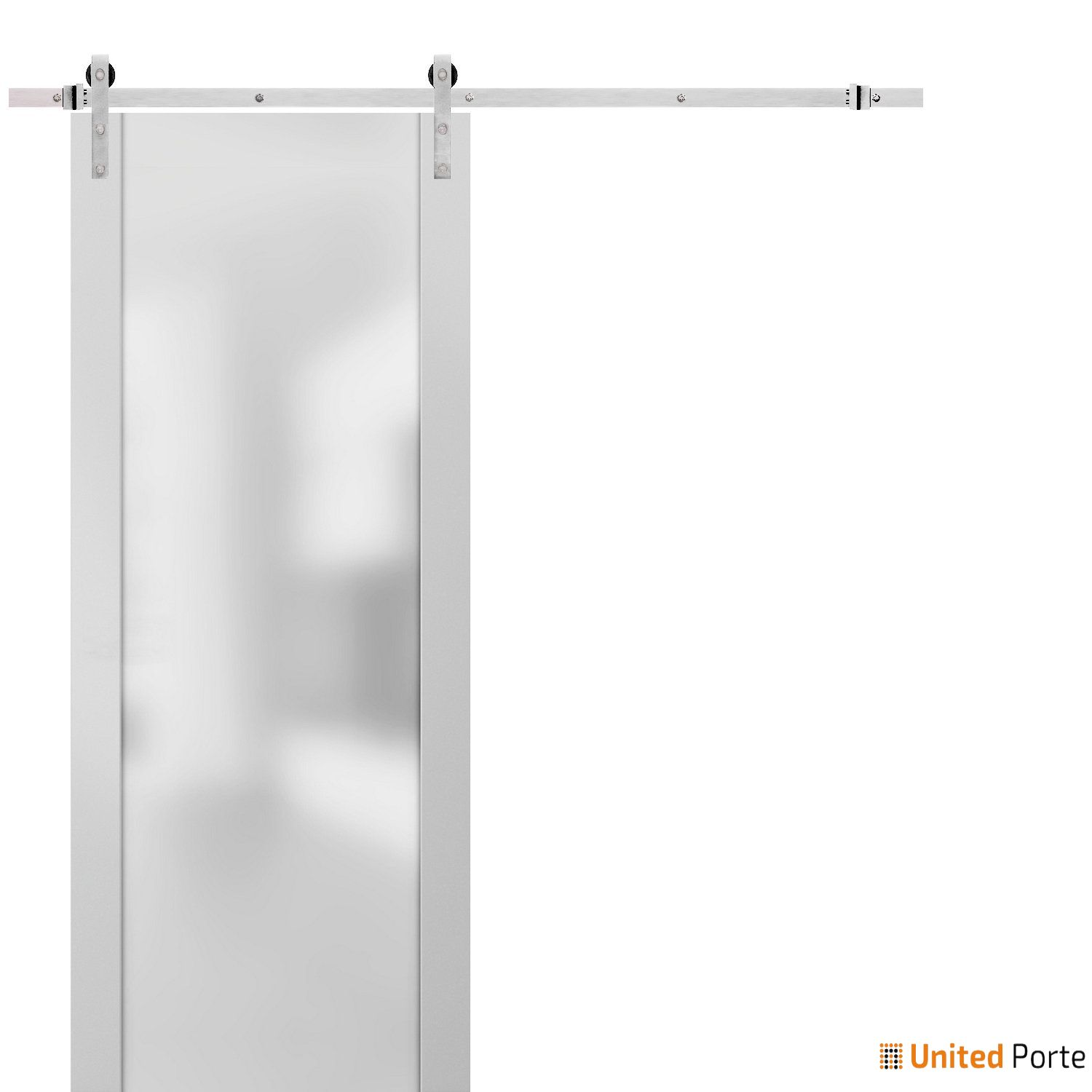 Planum 4114 White Silk Sturdy Barn Door Frosted Tempered Glass with Stainless Hardware   Modern Solid Panel Interior Barn Doors