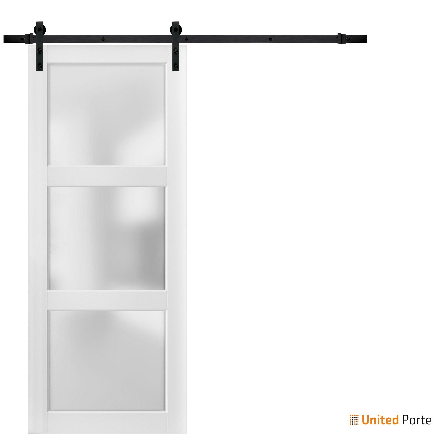 Lucia 2552 White Sturdy Barn Door Frosted Glass with Black Hardware | Solid Panel Interior Barn Doors