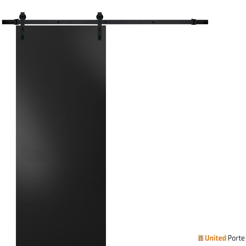 Planum 0010 Matte Black Sturdy Barn Door with Black Hardware | Modern Solid Panel Interior Barn Doors