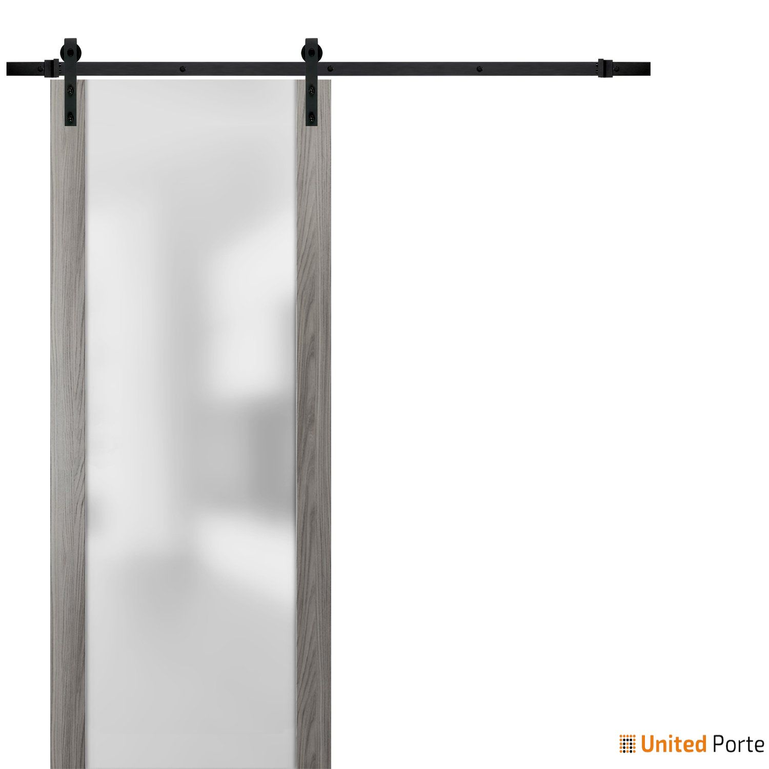 Planum 4114 Ginger Ash Sturdy Barn Door Frosted Tempered Glass with Black Hardware | Modern Solid Panel Interior Barn Doors