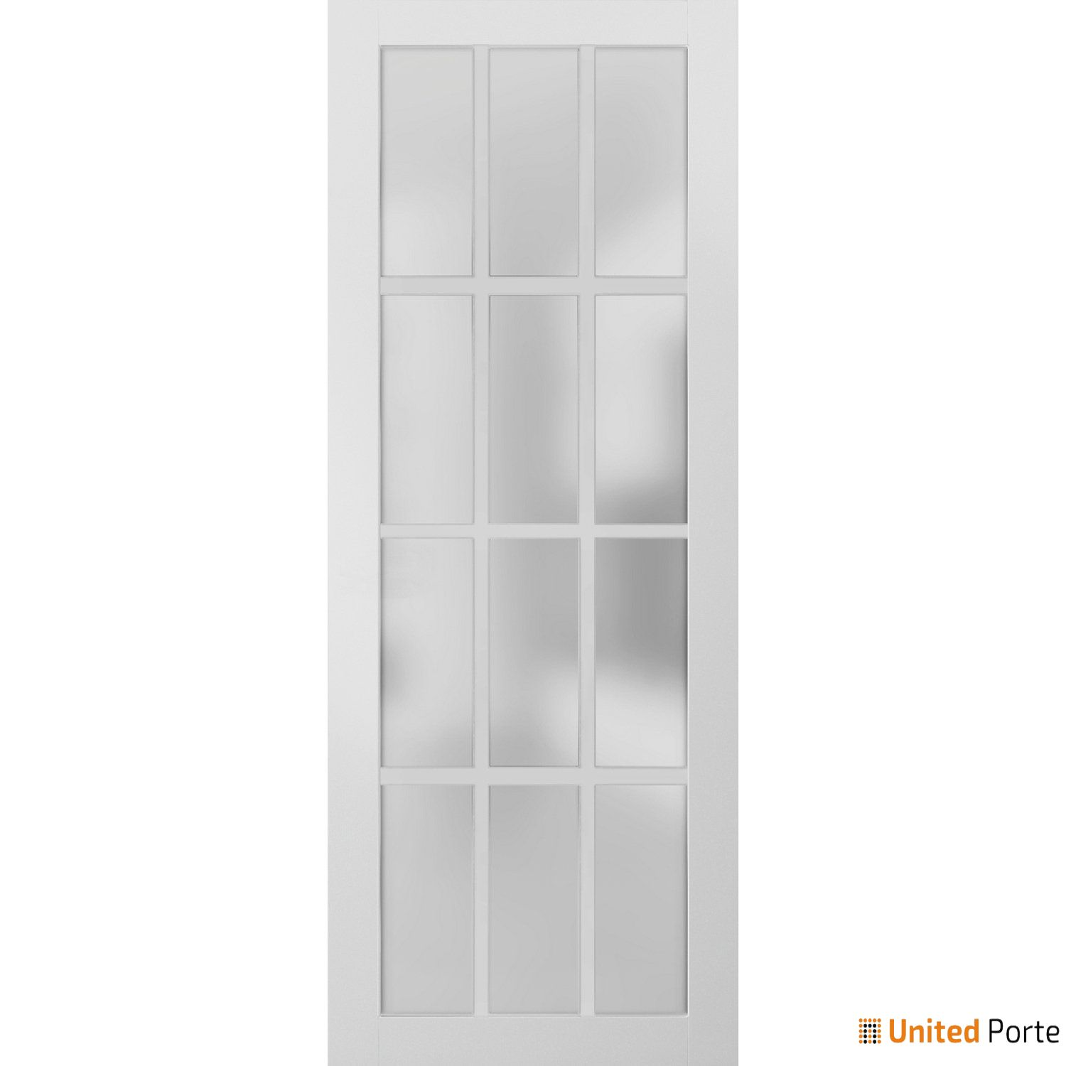 Felicia 3312 White Sturdy Barn Door Frosted Glass 12 Lites Slab | Solid Panel Interior Barn Doors