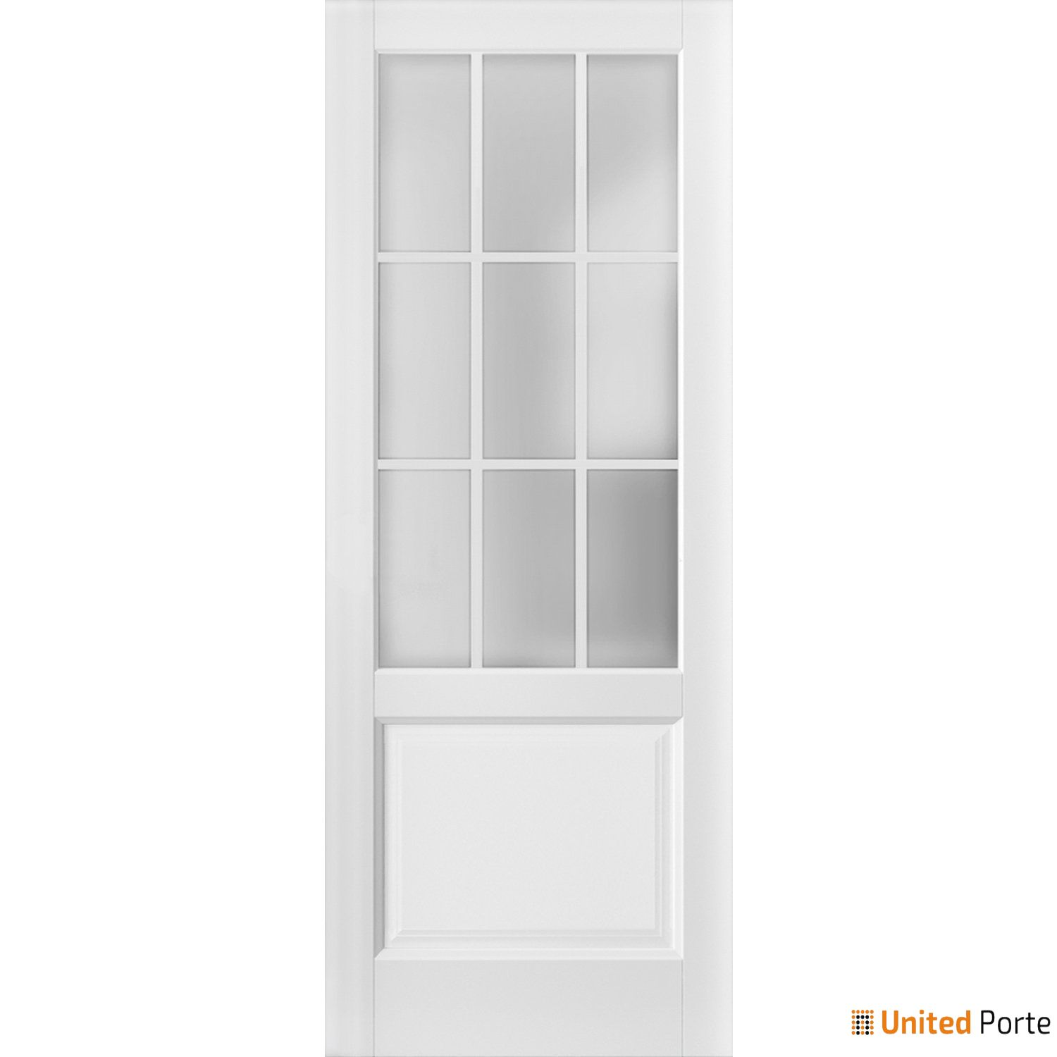 Felicia 3309 Matte White Sturdy Barn Door Frosted Glass 9 Lites Slab | Solid Panel Interior Barn Doors