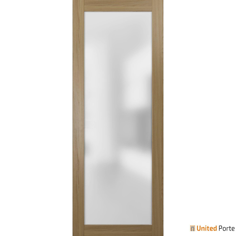 Planum 2102 Honey Ash Sturdy Barn Door Frosted Tempered Glass Slab   Modern Solid Panel Interior Barn Doors