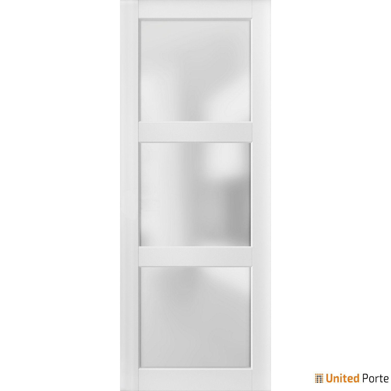 Lucia 2552 White Sturdy Barn Door Frosted Glass Slab | Solid Panel Interior Barn Doors