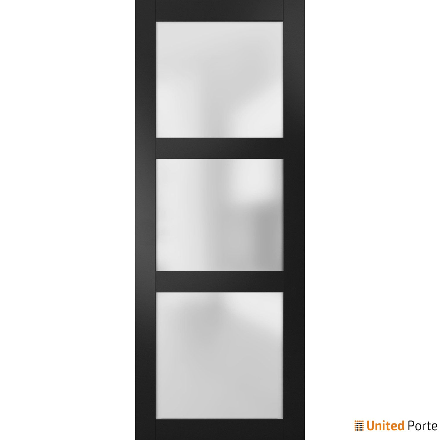Lucia 2552 Matte Black Sturdy Barn Door Frosted Glass Slab   Solid Panel Interior Barn Doors