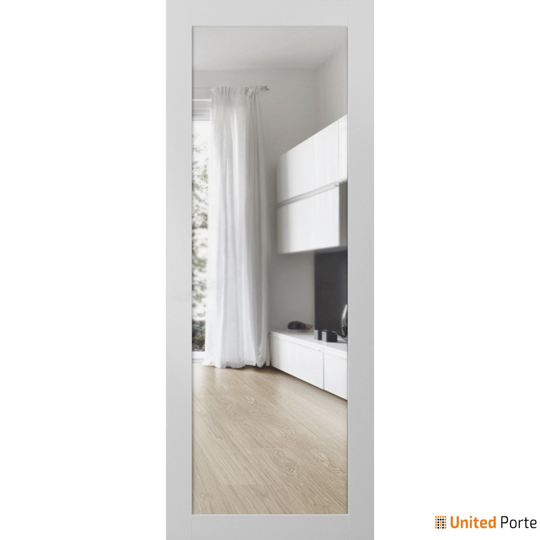 Lucia 2166 White Silk Sturdy Barn Door Clear Glass Slab | Solid Panel Interior Barn Doors