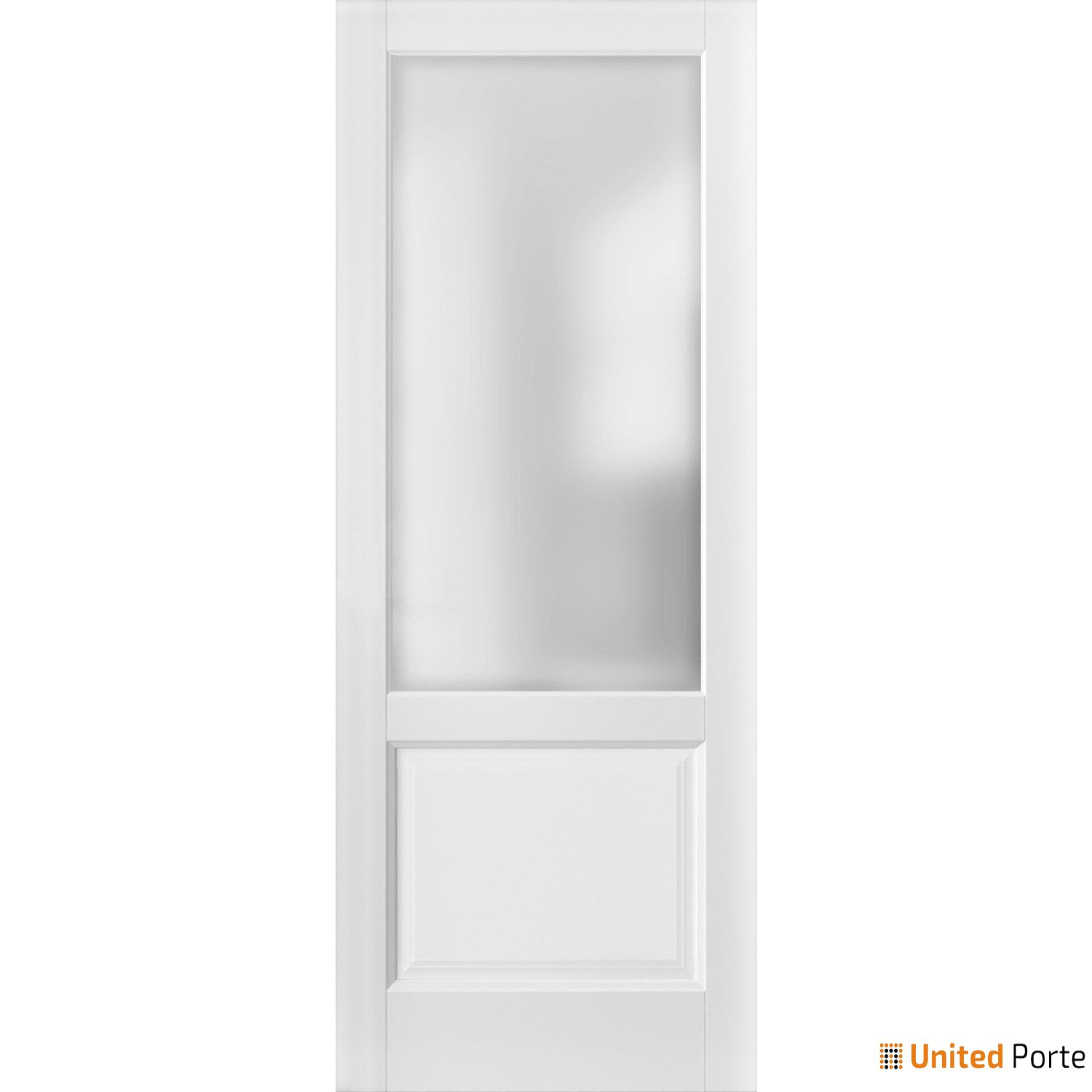 Lucia 22 White Silk with Frosted Opaque Glass Sliding Barn Door Slab | Lite Wooden Solid Panel Interior Barn Doors