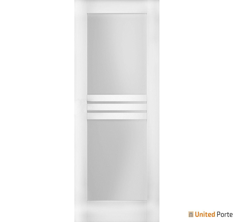 Mela 7222 White Silk Modern Barn Door Opaque Glass 4 Lites Slab |  Solid Panel Interior Barn Doors