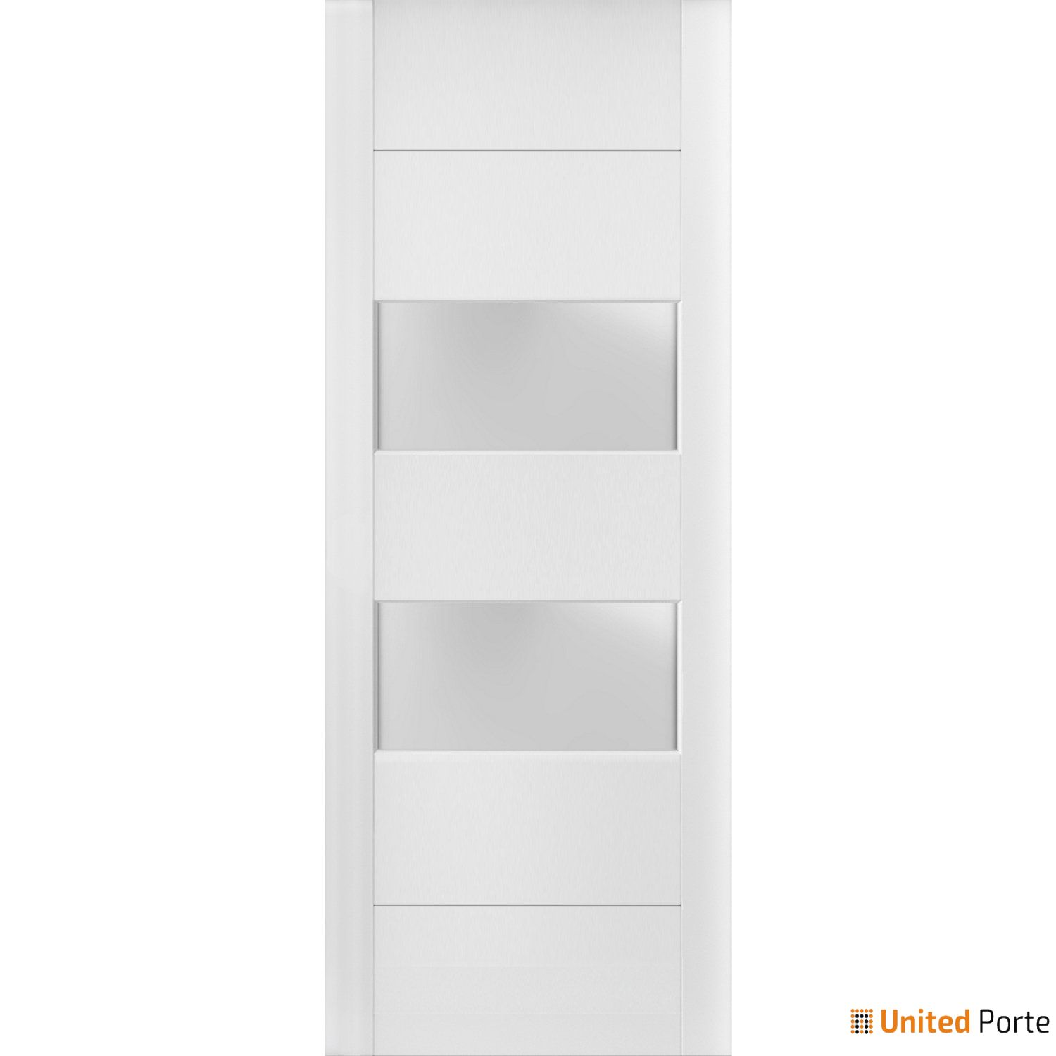 Lucia 4010 White Silk Sturdy Barn Door Frosted Glass 2 lites Slab | Solid Panel Interior Barn Doors