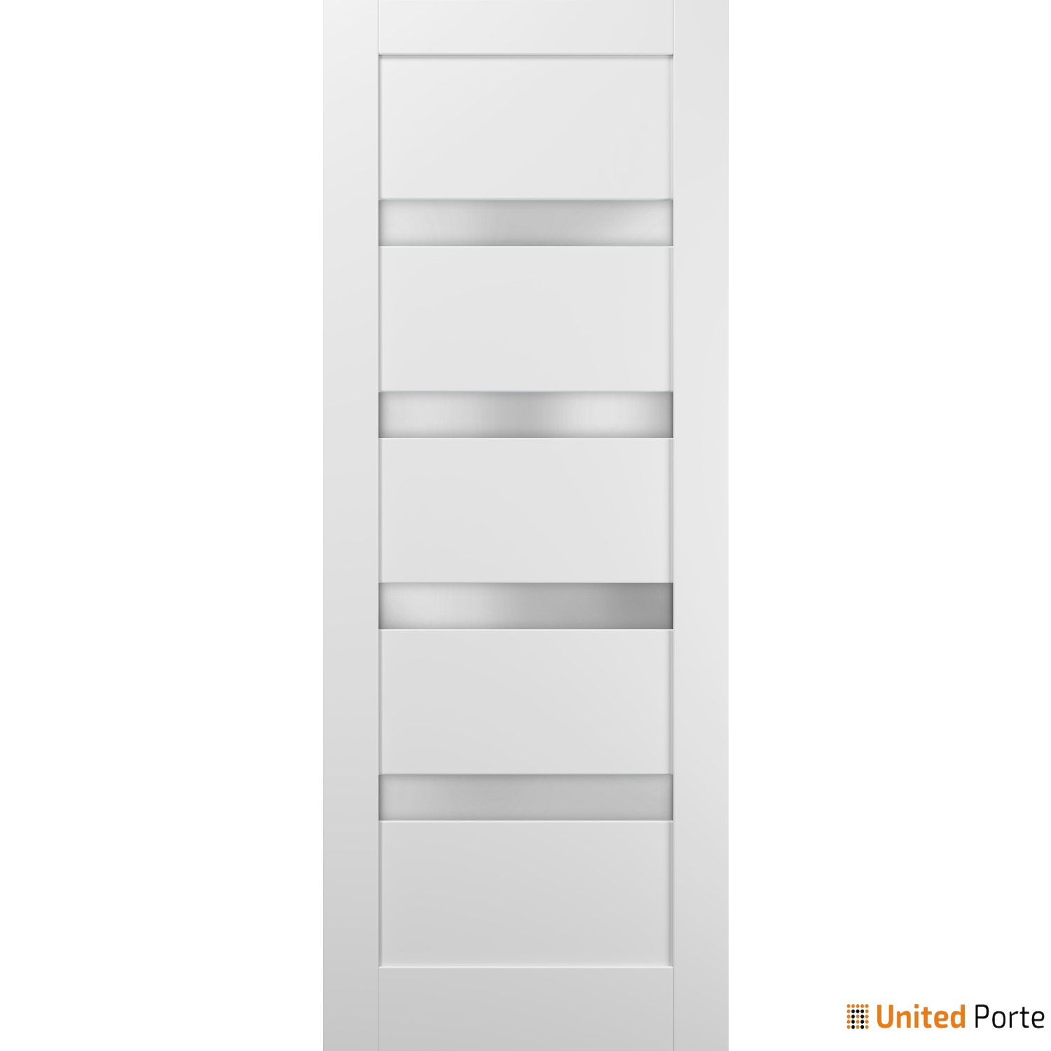 Quadro 4113 White Silk with Frosted Opaque Glass Sliding Barn Door Slab | Lite Wooden Solid Panel Interior Barn Doors