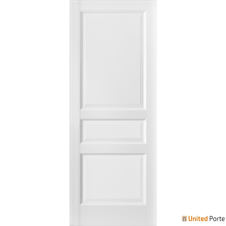 Lucia 31 White Silk Sliding Barn Door Slab | 3 Paneled Shaker Wooden Solid Panel Interior Barn Doors