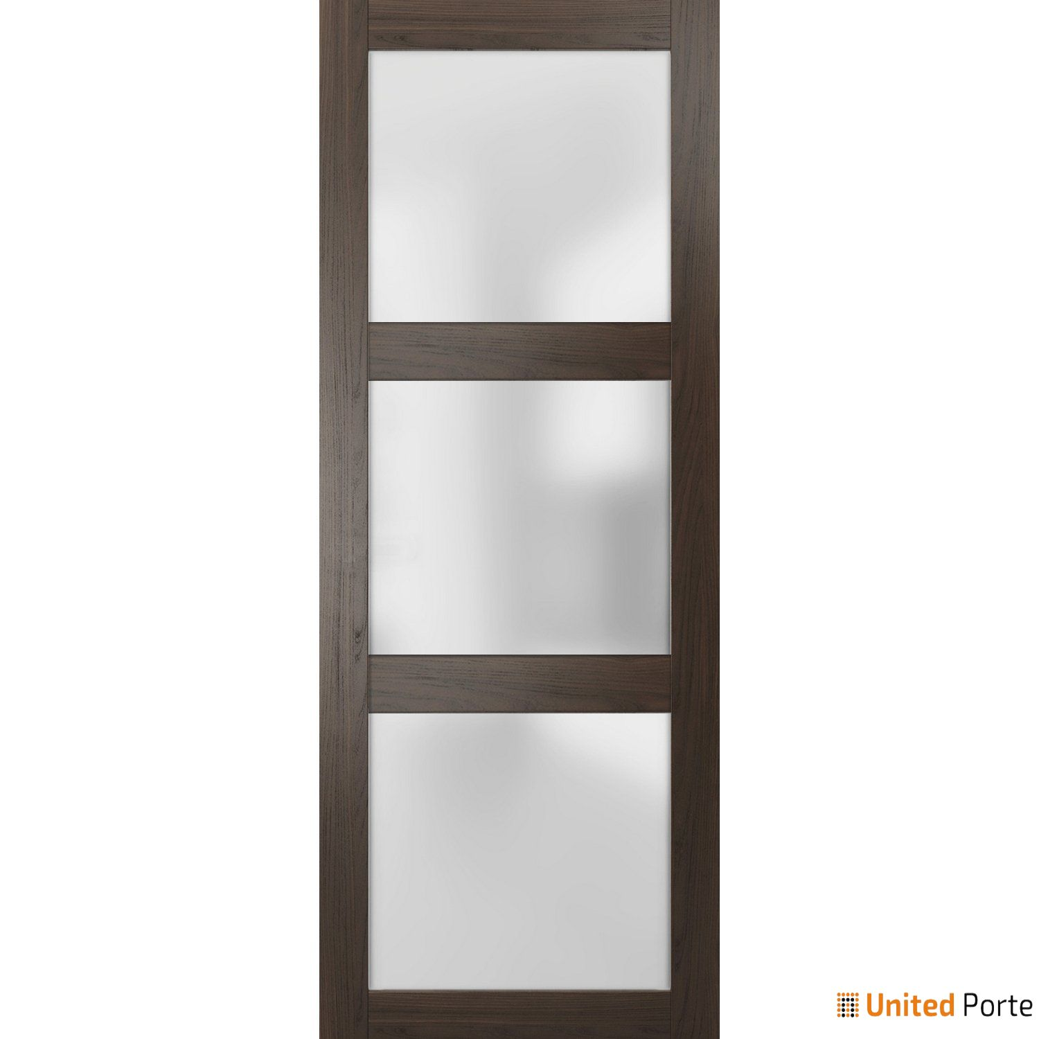 Lucia 2552 Chocolate Ash Sturdy Barn Door Frosted Glass Slab | Solid Panel Interior Barn Doors