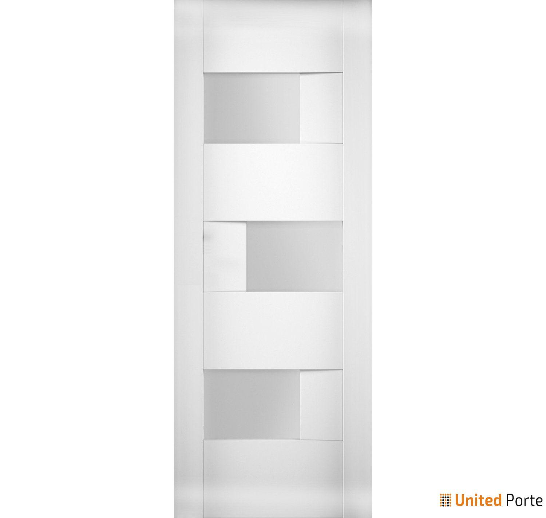 Sete 6933 White Silk Modern Barn Door Opaque Glass Slab   Solid Panel Interior Barn Doors