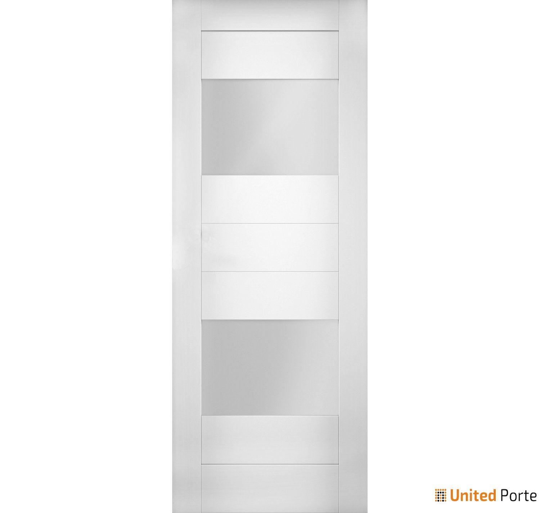Sete 6222 White Silk Modern Barn Door Opaque Glass 2 Lites Slab | Solid Panel Interior Barn Doors
