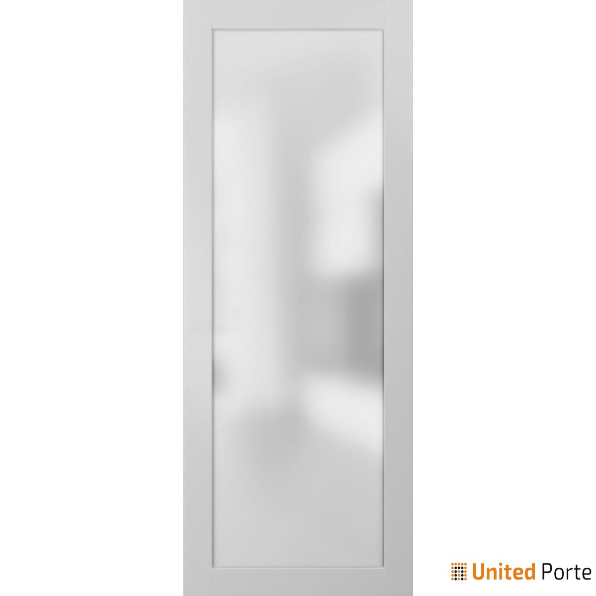 Planum 2102 White Sturdy Barn Door Frosted Tempered Glass Slab | Modern Solid Panel Interior Barn Doors