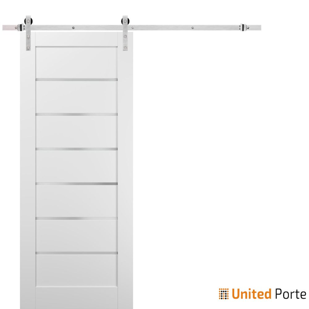 Quadro 4117 White Silk with Frosted Opaque Glass Sliding Barn Door with Stainless Hardware   Lite Wooden Solid Panel Interior Barn Doors