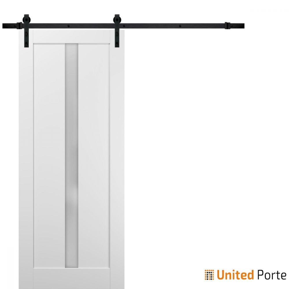 Quadro 4112 White Silk with Frosted Opaque Glass Lite Slab with Black Hardware | Sturdy Finished Wooden Modern Doors