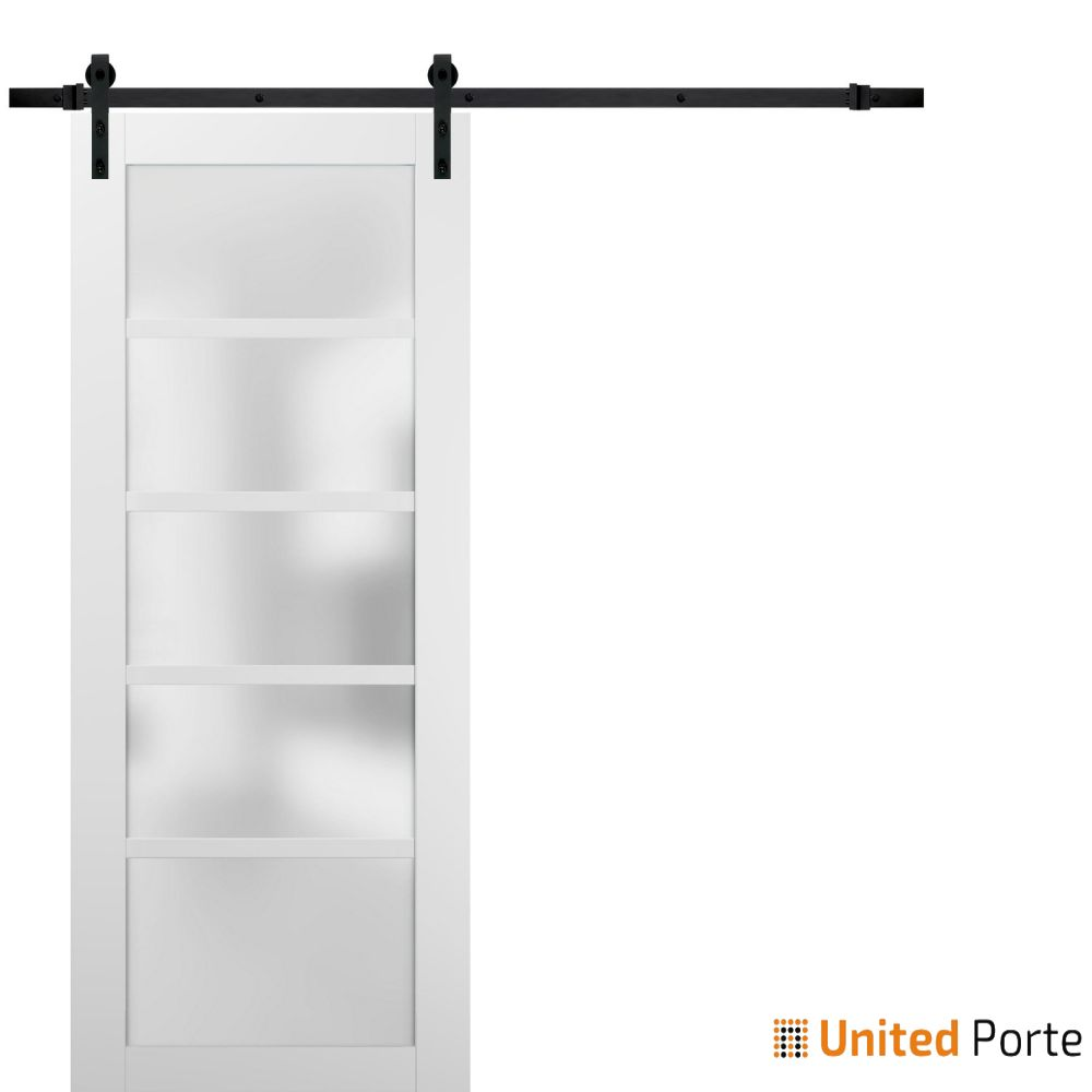 Quadro 4002 White Silk with Frosted Opaque Glass Sliding Barn Door with Black Hardware   Lite Wooden Solid Panel Interior Barn Doors