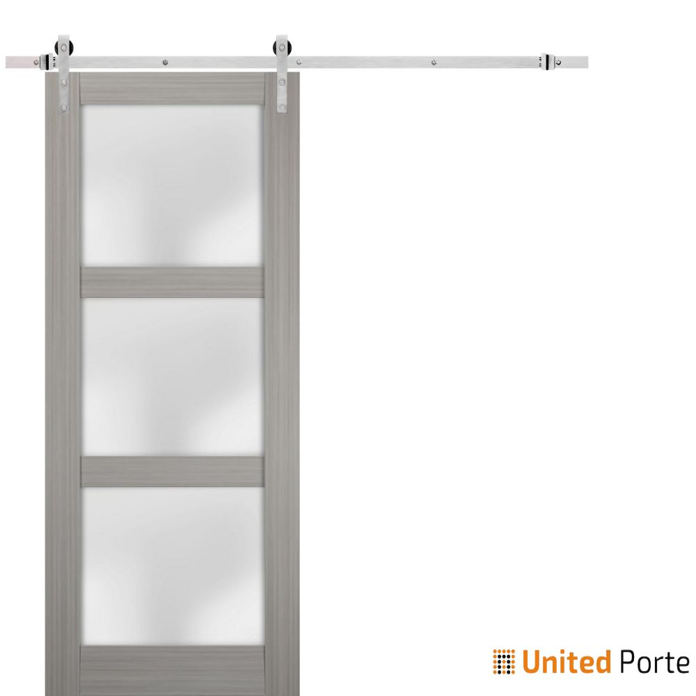 Lucia 2552 Grey Ash Sturdy Barn Door Frosted Glass with Stainless Hardware | Solid Panel Interior Barn Doors
