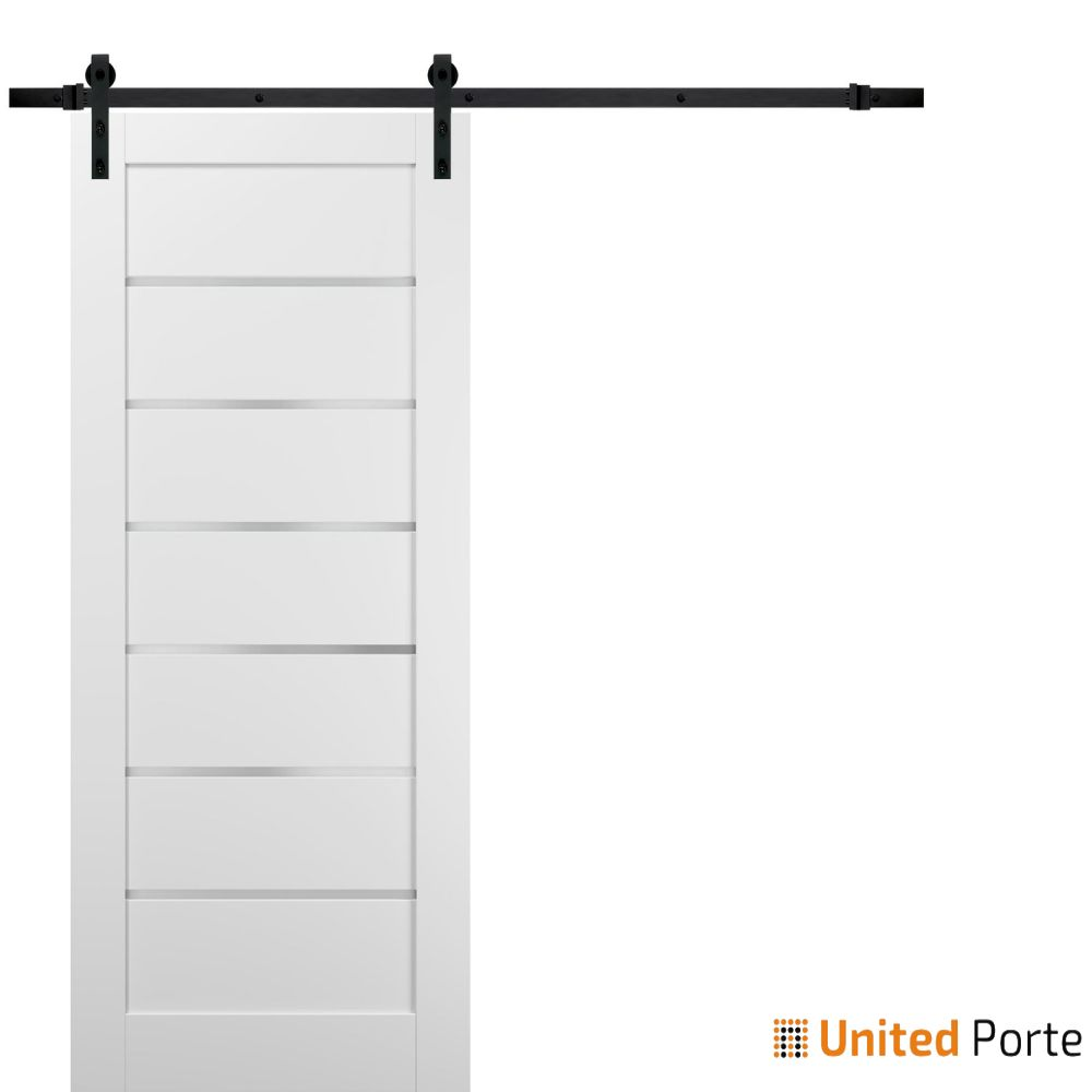 Quadro 4117 White Silk with Frosted Opaque Glass Sliding Barn Door with Black Hardware   Lite Wooden Solid Panel Interior Barn Doors
