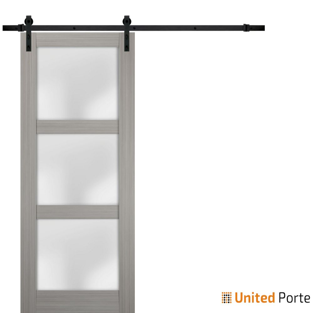 Lucia 2552 Grey Ash Sturdy Barn Door Frosted Glass with Black Hardware | Solid Panel Interior Barn Doors