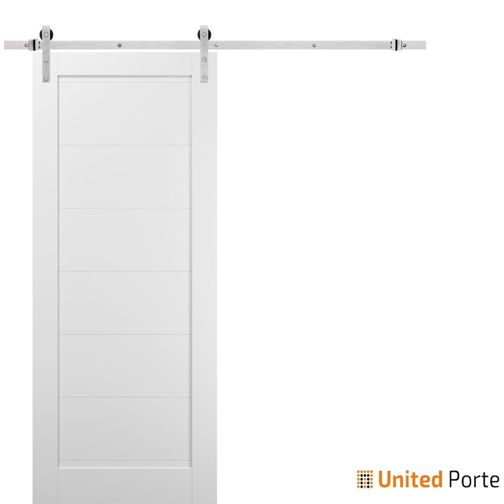 Quadro 4115 White Silk Sliding Barn Door with Stainless Hardware   Wooden Solid Panel Interior Barn Doors