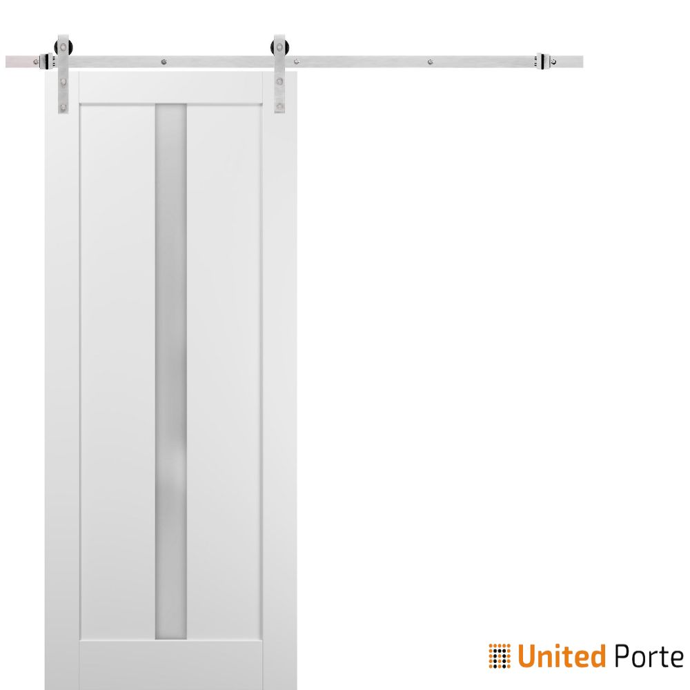 Quadro 4112 White Silk with Frosted Opaque Glass Lite Slab with Stainless Hardware | Sturdy Finished Wooden Modern Doors