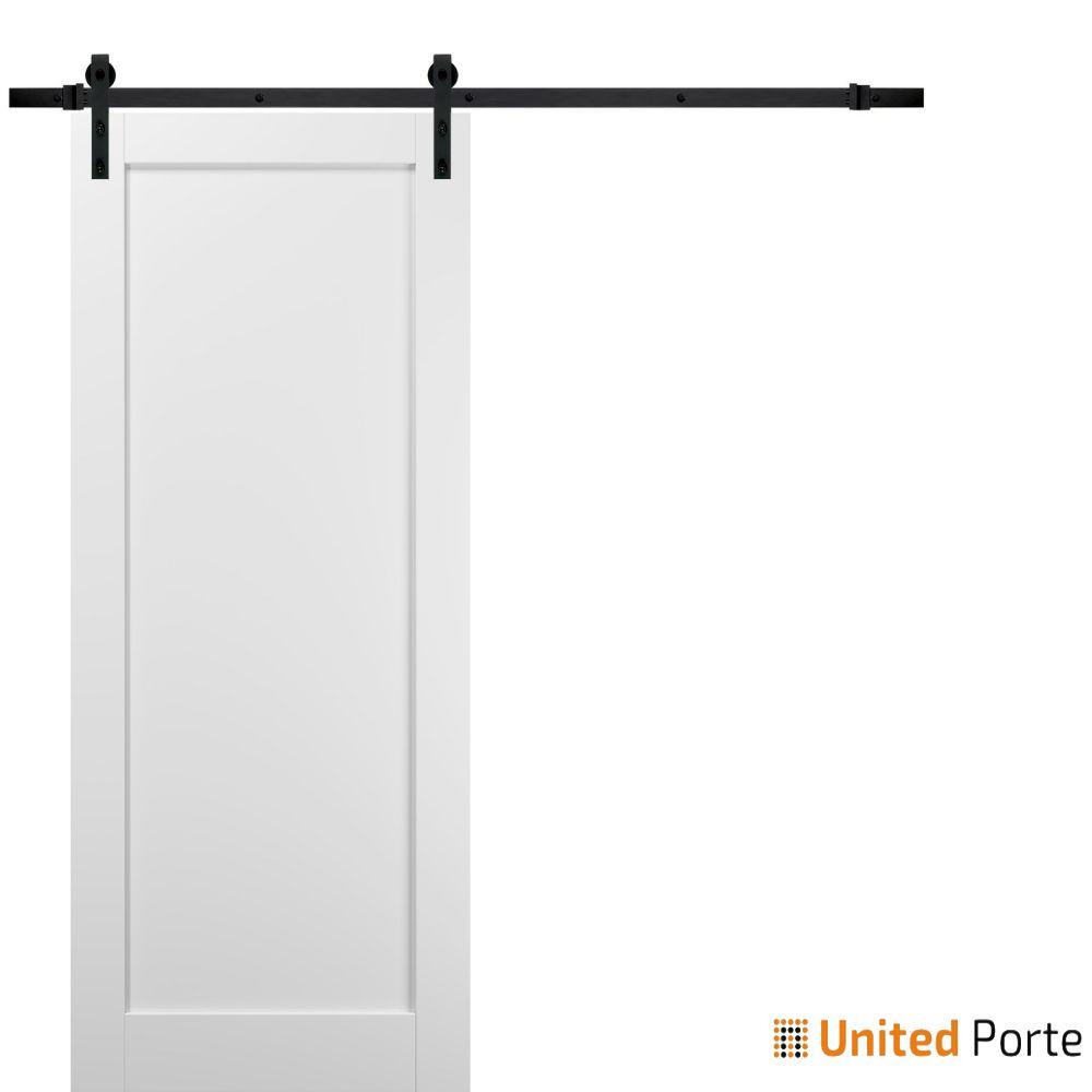 Quadro 4111 White Silk Sliding Barn Door with Black Hardware   Wooden Solid Panel Interior Barn Doors