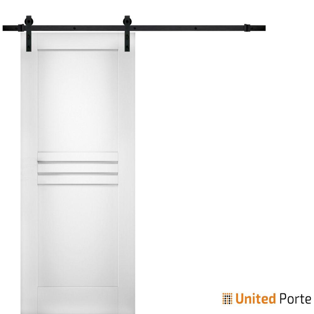 Mela 7444 White Silk Modern Barn Door with Black Hardware | Solid Panel Interior Barn Doors