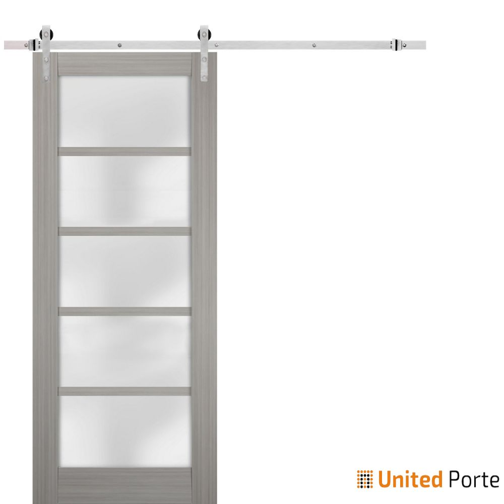 Quadro 4002 Grey Ash with Frosted Opaque Glass Sliding Barn Door with Stainless Hardware | Lite Wooden Solid Panel Interior Barn Doors