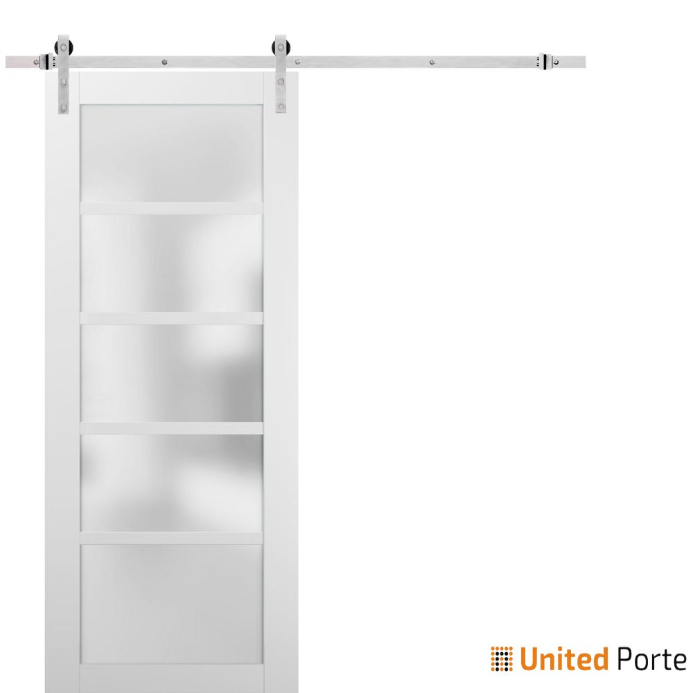 Quadro 4002 White Silk with Frosted Opaque Glass Sliding Barn Door with Stainless Hardware   Lite Wooden Solid Panel Interior Barn Doors
