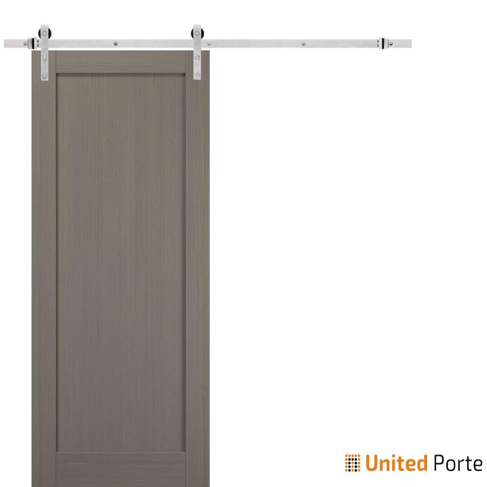 Quadro 4111 Grey Ash Sliding Barn Door with Stainless Hardware | Wooden Solid Panel Interior Barn Doors