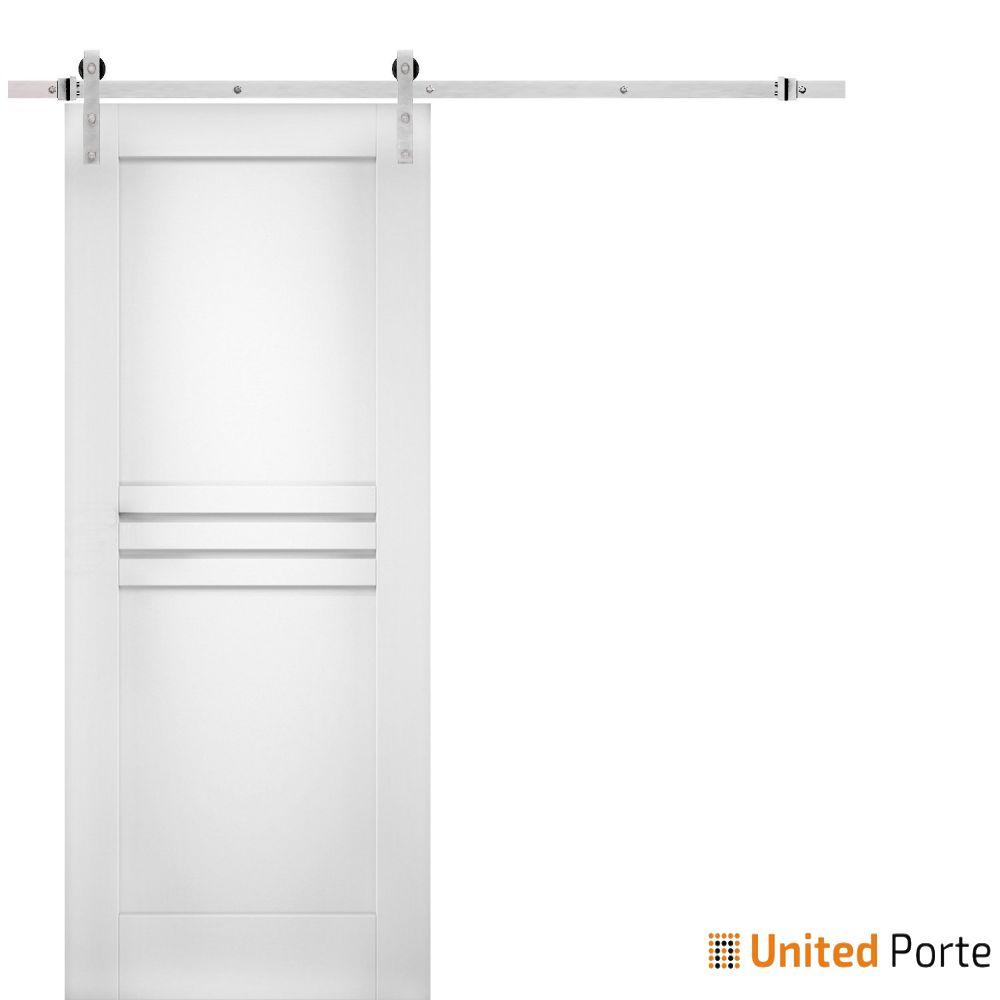Mela 7444 White Silk Modern Barn Door with Stainless Hardware | Solid Panel Interior Barn Doors