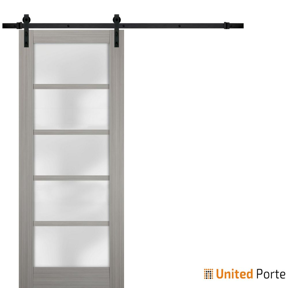Quadro 4002 Grey Ash with Frosted Opaque Glass Sliding Barn Door with Black Hardware | Lite Wooden Solid Panel Interior Barn Doors