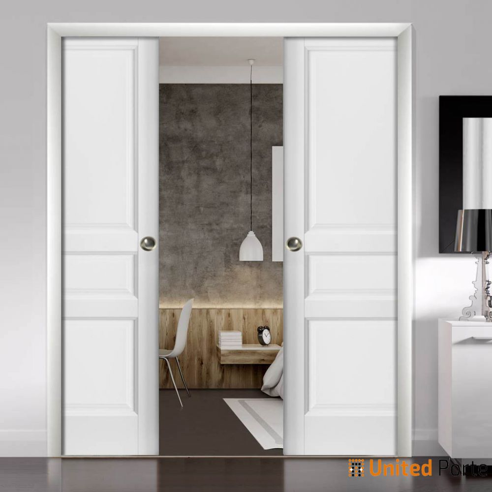 French Double Pocket Doors Lucia 31 White Silk Kit Trims Rail Hardware Solid