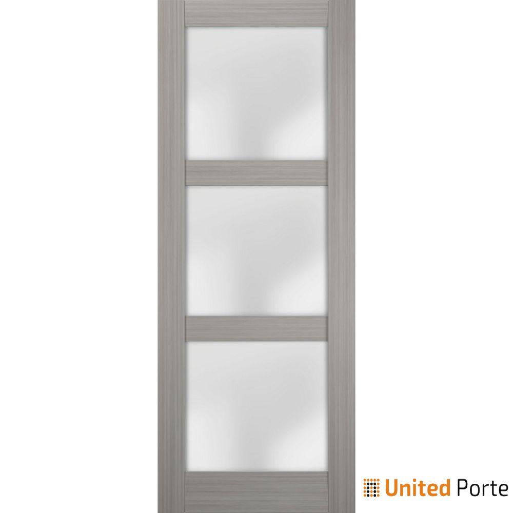 Lucia 2552 Grey Ash Sturdy Barn Door Frosted Glass Slab | Solid Panel Interior Barn Doors