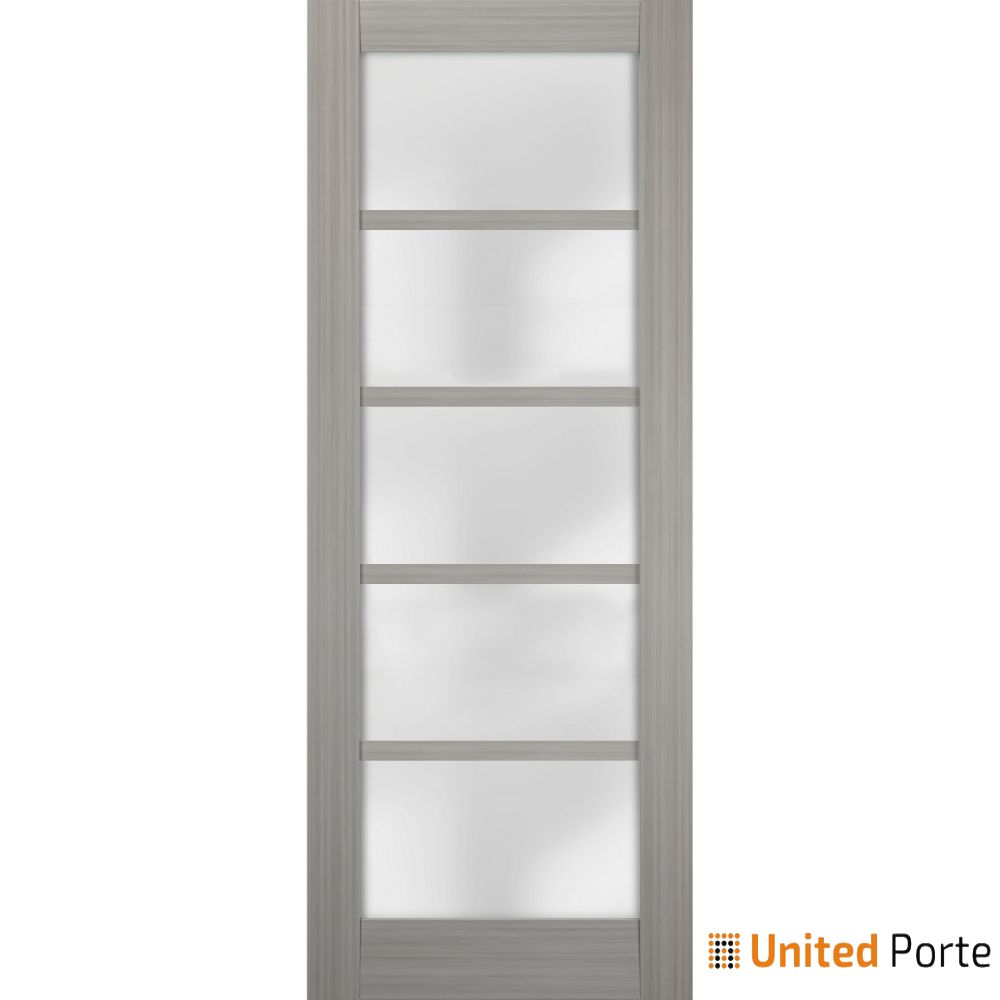 Quadro 4002 Grey Ash with Frosted Opaque Glass Sliding Barn Door Slab   Lite Wooden Solid Panel Interior Barn Doors