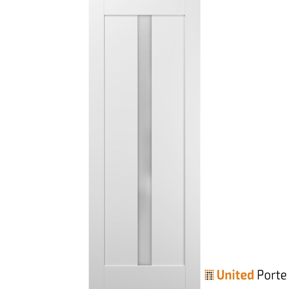 Quadro 4112 White Silk with Frosted Opaque Glass Lite Slab | Sturdy Finished Wooden Modern Doors